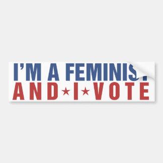 Soy una feminista y voto etiqueta de parachoque