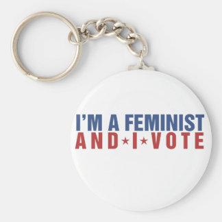 Soy una feminista y voto llavero redondo tipo pin