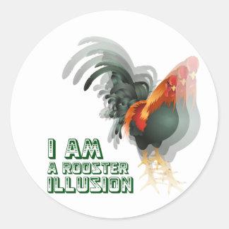 Soy una ilusión del gallo pegatina redonda