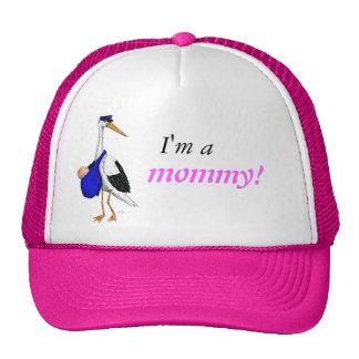 """""""Soy una mamá!"""" gorra con la cigüeña de la entrega"""