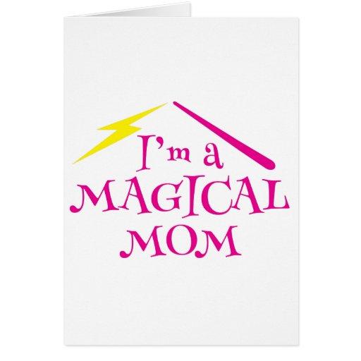¡Soy una mamá MÁGICA! con la vara del mago Tarjeta De Felicitación