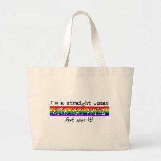 Soy una mujer recta con orgullo gay bolsa de tela grande