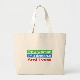 ¡Soy una mujer, soy un Demócrata, y voto! Bolsa Tela Grande