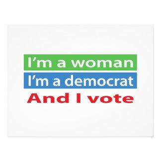 ¡Soy una mujer, soy un Demócrata, y voto! Tarjeta Publicitaria