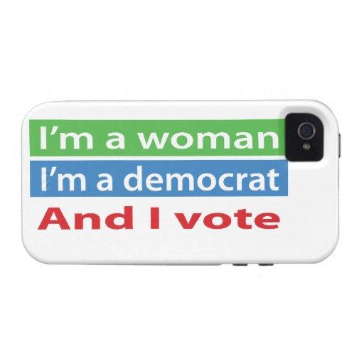 ¡Soy una mujer, soy un Demócrata, y voto! iPhone 4/4S Fundas