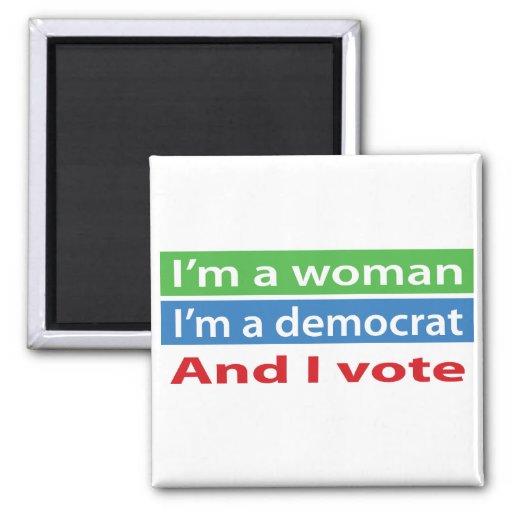 ¡Soy una mujer, soy un Demócrata, y voto! Imán Cuadrado