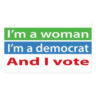 ¡Soy una mujer soy un Demócrata y voto Plantilla De Tarjeta De Visita