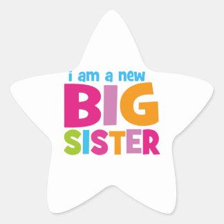 Soy una nueva hermana grande pegatina en forma de estrella
