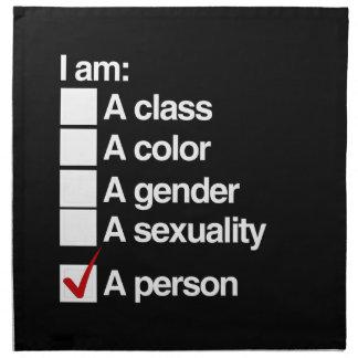 Soy una persona (la clase) servilletas imprimidas