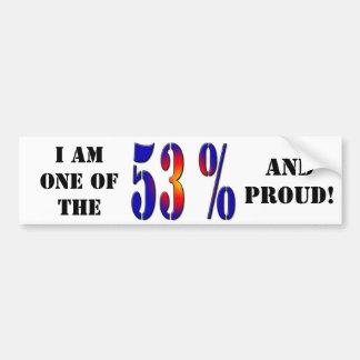 Soy uno del 53% y bumpersticker orgulloso pegatina para auto