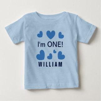 Soy UNO los corazones azules lindos BZ de 1 año T-shirt