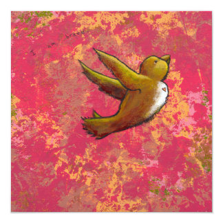 """Soy valiente - pájaro lindo hermoso de la invitación 5.25"""" x 5.25"""""""