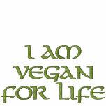 Soy vegano para la vida. Verde en blanco. Lema Sudadera Bordada Con Serigrafia