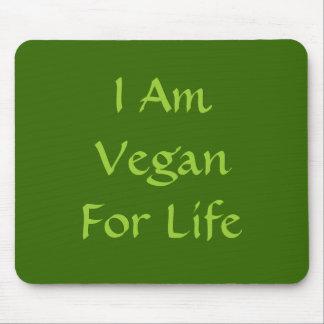 Soy vegano para la vida. Verde. Lema. Personalizad Tapetes De Raton