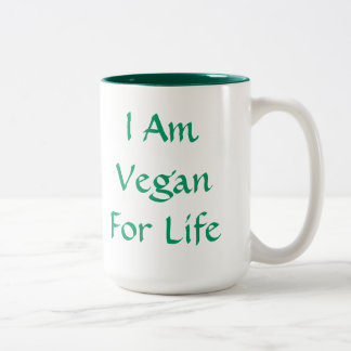 Soy vegano para la vida. Verde. Lema. Personalizad Taza