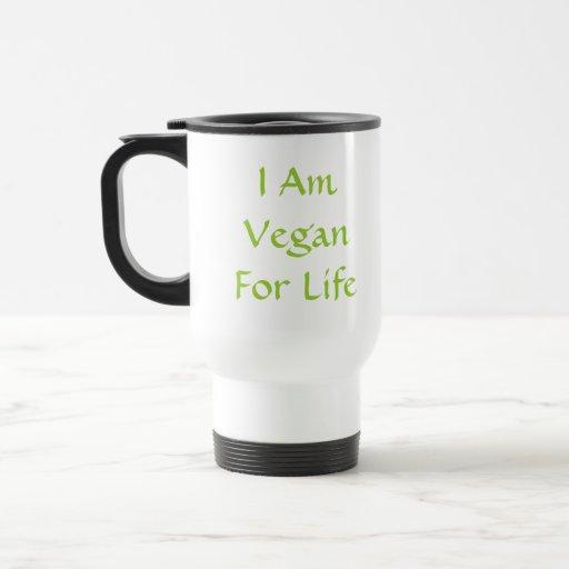 Soy vegano para la vida. Verde. Lema. Personalizad Taza De Viaje De Acero Inoxidable