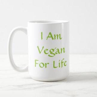 Soy vegano para la vida. Verde. Lema. Personalizad Tazas