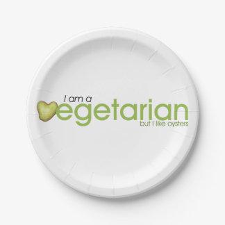 Soy vegetariano - las placas de papel platos de papel