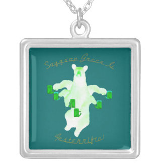 Soygoop Green Is Festerrific Square Pendant Necklace