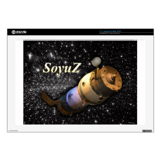 "Soyuz Russian spacecraft in the sky with stars 17"" Laptop Decals"