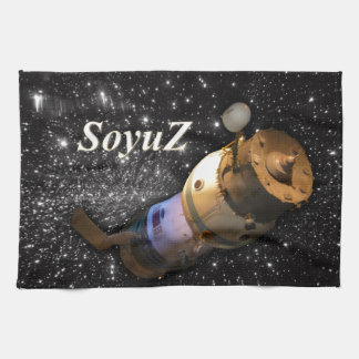 Soyuz Russian spacecraft in the sky with stars Towel