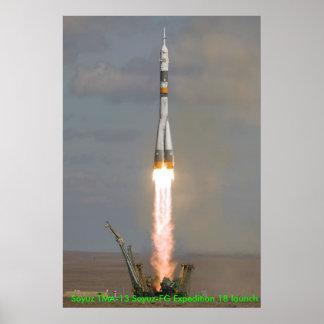 Soyuz TMA-13 Soyuz-FG Expedition 18 launch Print