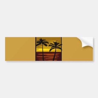SP010  RETRO BROWNS GOLDS SUNSET PALM TREES LOGOS CAR BUMPER STICKER