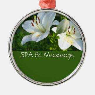 SPA and massage Round Metal Christmas Ornament