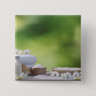 Spa and Wellness Utensils in a tropical garden Button