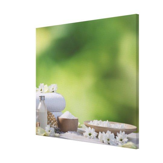 Spa and Wellness Utensils in a tropical garden Canvas Print