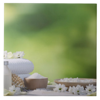 Spa and Wellness Utensils in a tropical garden Ceramic Tile