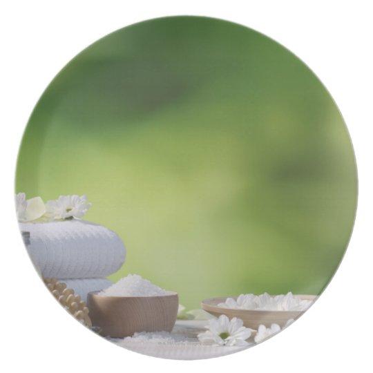 Spa and Wellness Utensils in a tropical garden Dinner Plate