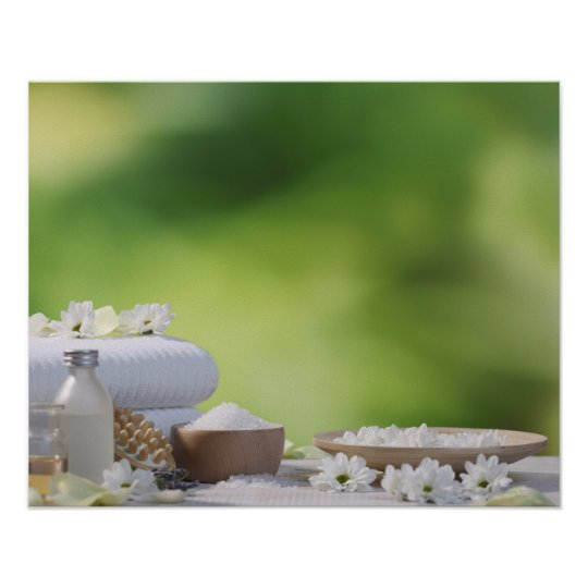 Spa and Wellness Utensils in a tropical garden Poster