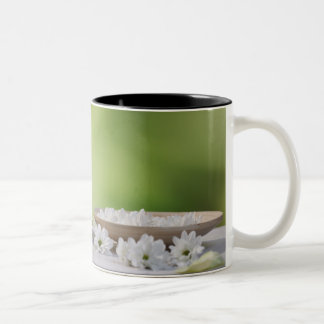 Spa and Wellness Utensils in a tropical garden Two-Tone Coffee Mug