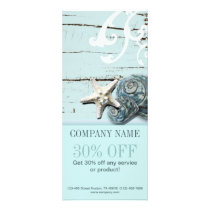 SPA aqua blue beach wood starfish seashells Rack Card