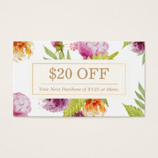 SPA Beauty Salon Floral Art Deco Discount Coupon Business Card