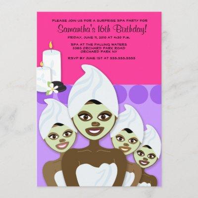 SPA Birthday or Bridal Shower 5x7 AFRICAN AMERICAN Invitation