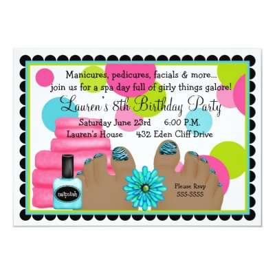 African American Spa Birthday Party Invitation – Pedicure Party Invitations