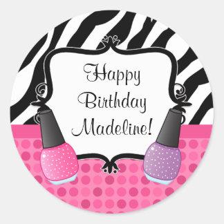 Spa Birthday Party Sticker Zebra Stripe