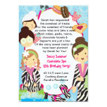 Spa Birthday Party zebra and cookies 5x7 Paper Invitation Card