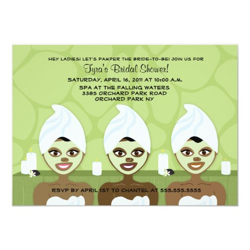 SPA BRIDAL SHOWER INVITATION - Green