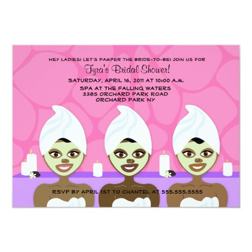 SPA BRIDAL SHOWER INVITATION Pink & Purple