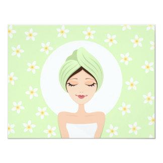 Spa bridal shower invitation with plumeria