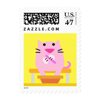 Spa Cat Postage Stamp