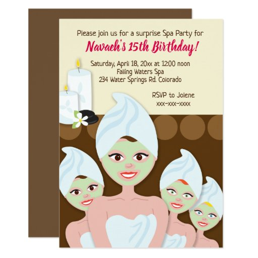 Spa Day Birthday Party Invitations Girl / Women