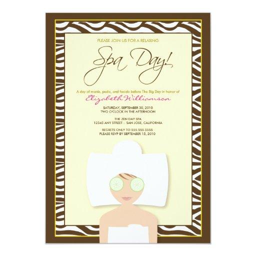 Spa day bridal shower invitation yellow zazzle for Yellow bridal shower invitations