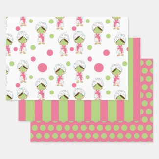 Spa Day Cute Girl Wrapping Paper Sheet Set