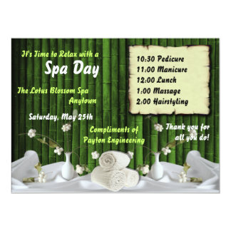 Spa Day For Employees Custom Invitations