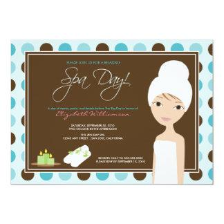Spa Day Polka-dots Bridal Shower Invite (aqua)