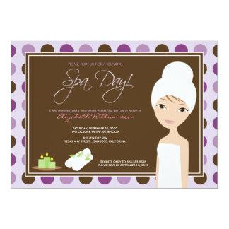 Spa Day Polka-dots Bridal Shower Invite (lavender)